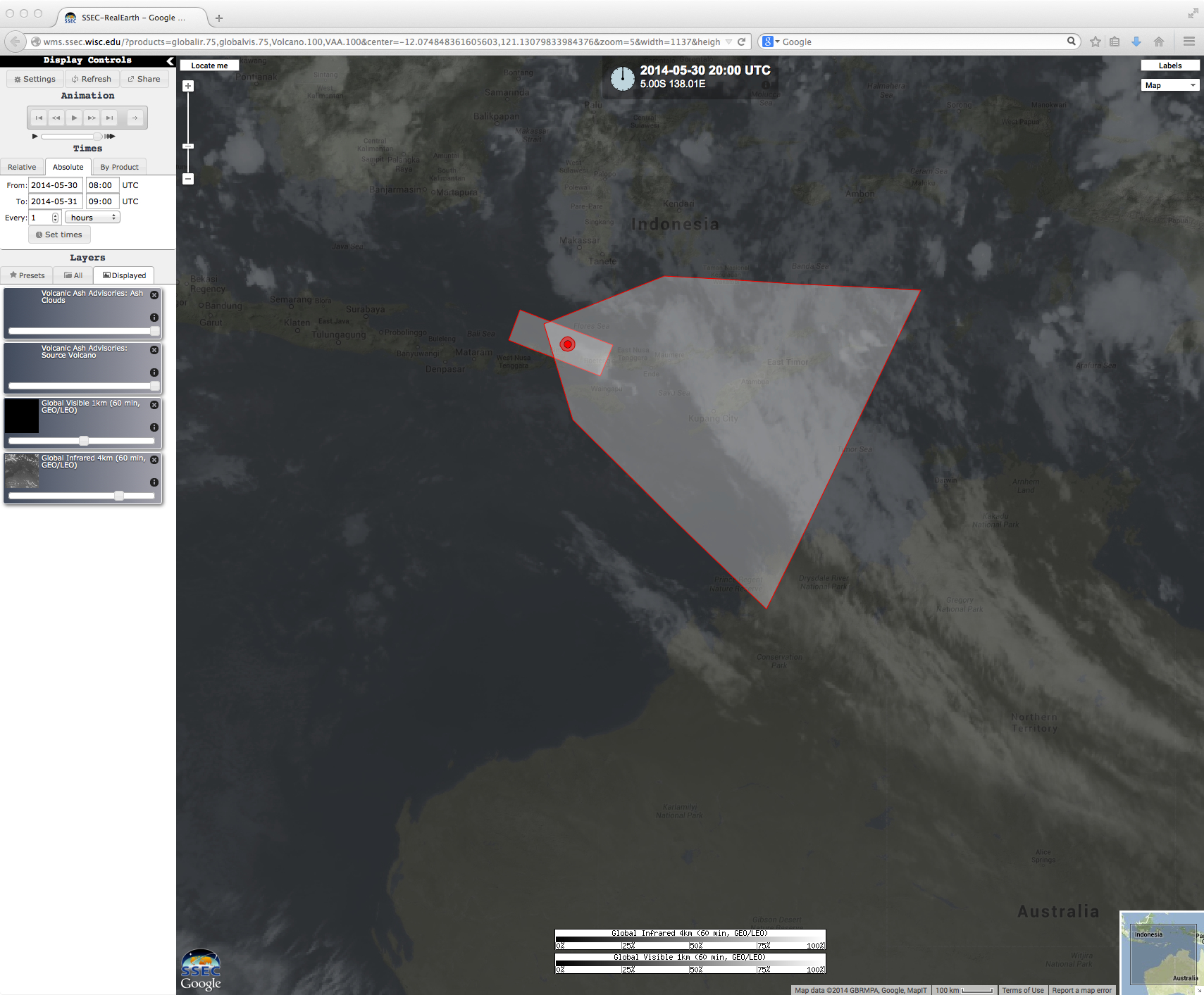 MTSAT-2 visible and IR images, with Volcanic Ash Advisory polygons
