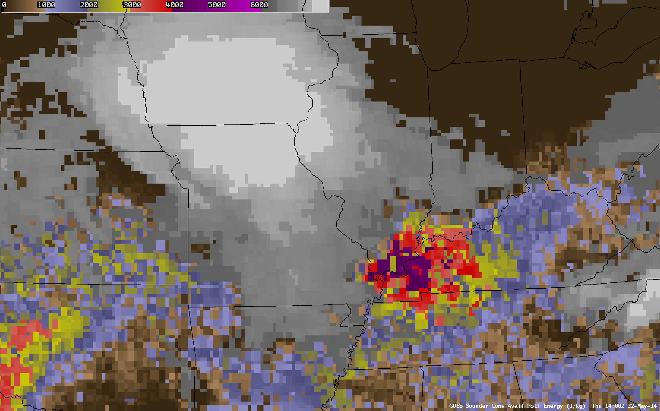 GOES-13 DPI Convective Available Potential Energy (CAPE) on May 22, times as indicated (click to play animation)