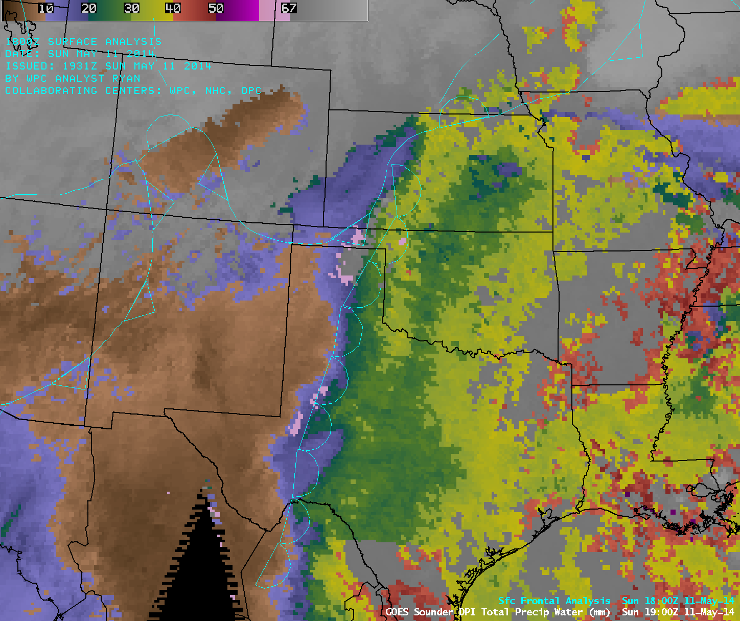 GOES-13 sounder Total Precipitable Water (TPW) derived product imagery (click to play animation)