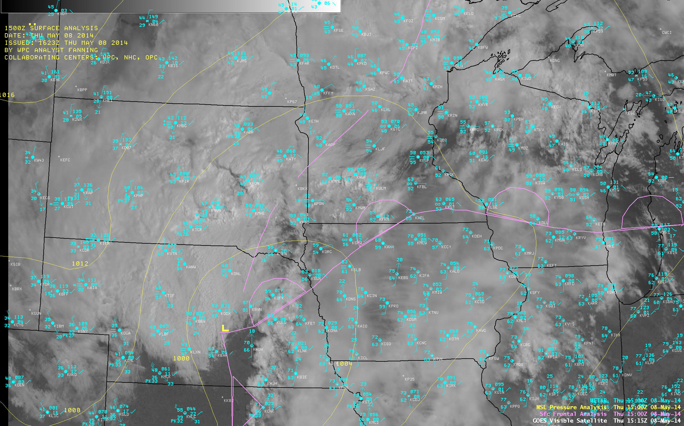 GOES-13 0.63 µm visible channel image with METAR surface reports and surface front and pressure analyses