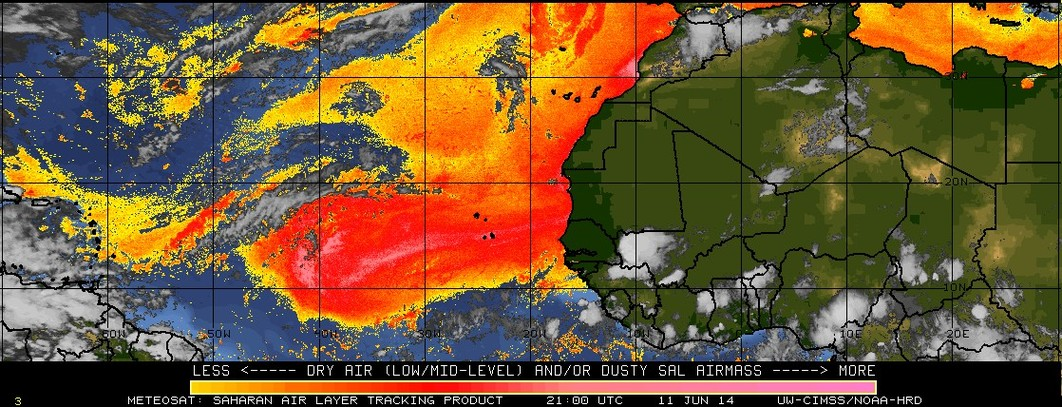 Meteosat-10 Saharan Air Layer tracking product (click to play animation)