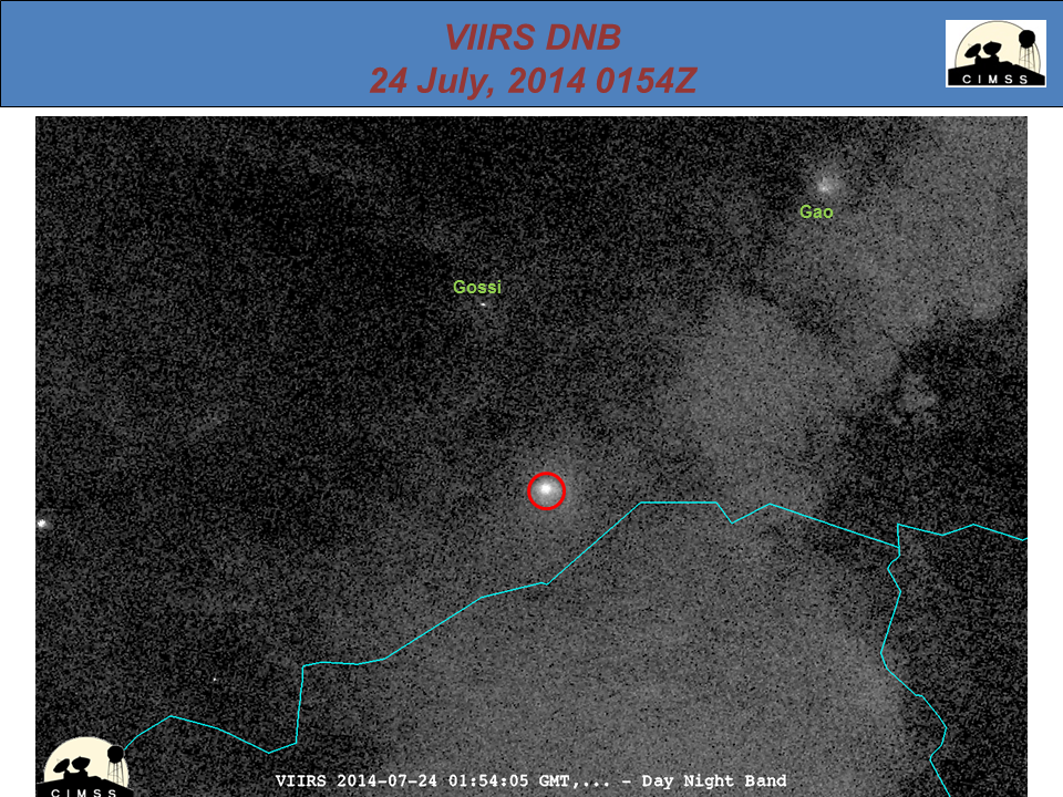 Suomi NPP VIIRS 0.7 µm Day/Night Band imagery on three days in July (click to Animate)