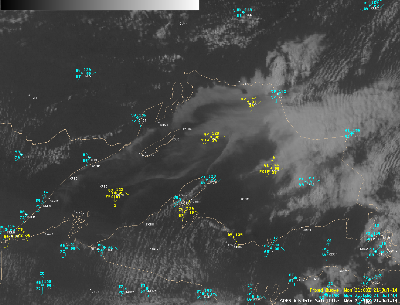 GOES-13 0.63 µm visible images, with METAR and Buoy reports (click to play animation)