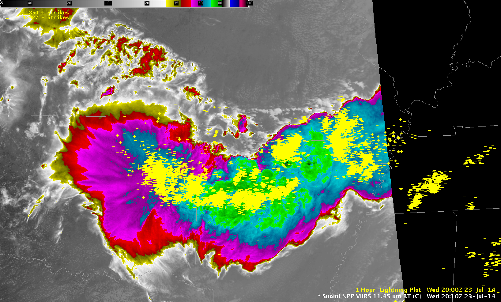 Suomi NPP 11.35 µm infrared channel imagery and Detected Lightning (click to play animation)
