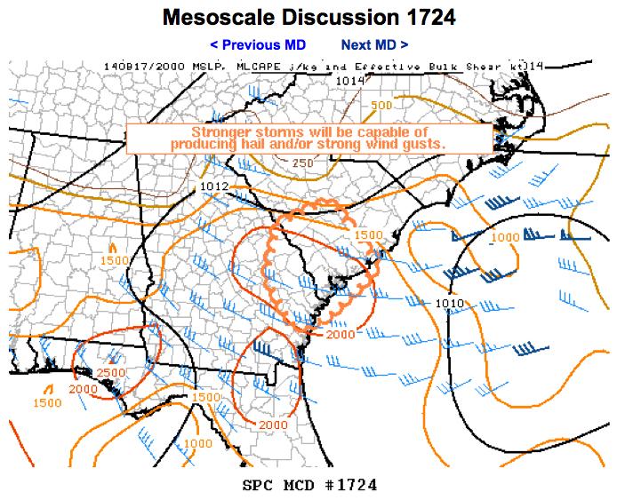 Storm Prediction Center Mesoscale Discussion #1724