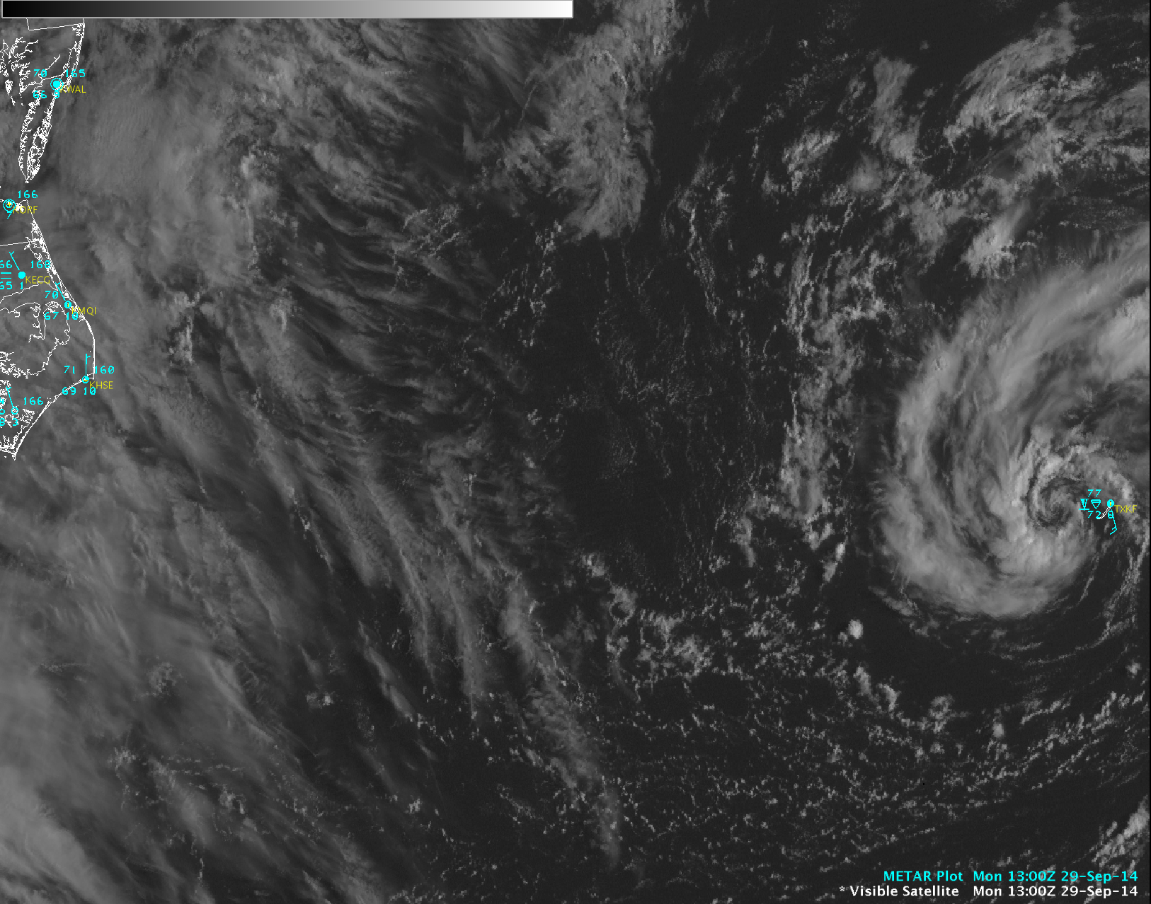 GOES-13 0.63 µm visible channel images with METAR surface reports (click to play animation)