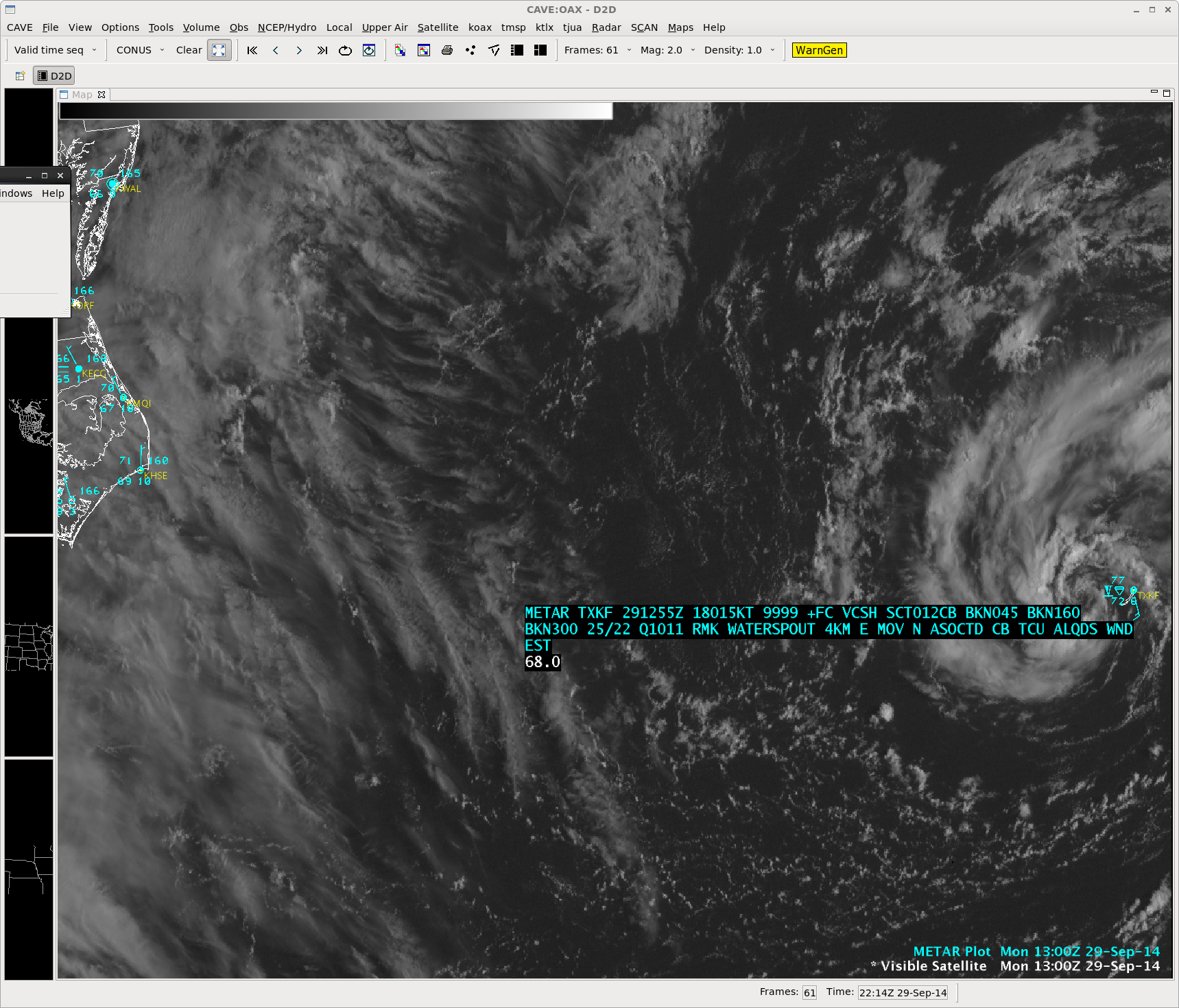 GOES-13 0.63 µm visible channel image with Bermuda METAR observation