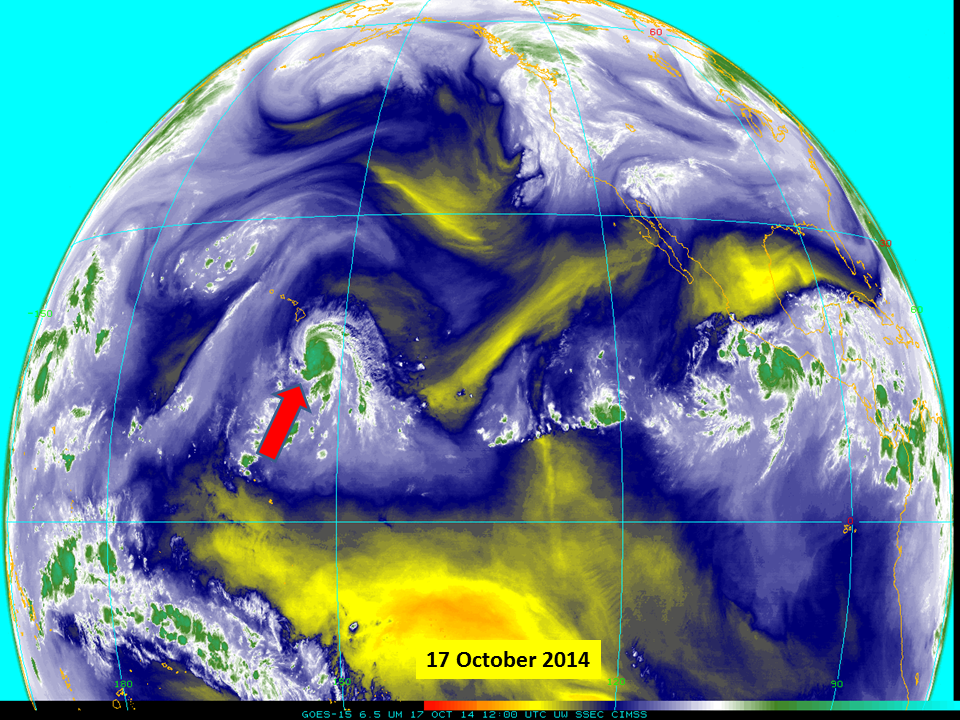 GOES-15 6.5 µm water vapor channel images (click to play animation)