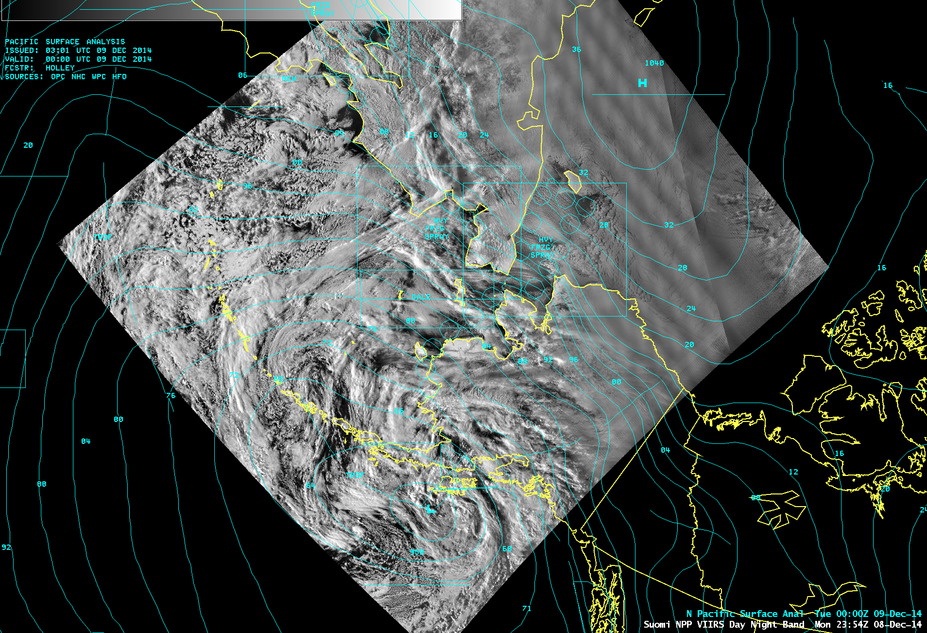Suomi NPP VIIRS 0.7 µm Day/Night Band image, with surface analysis