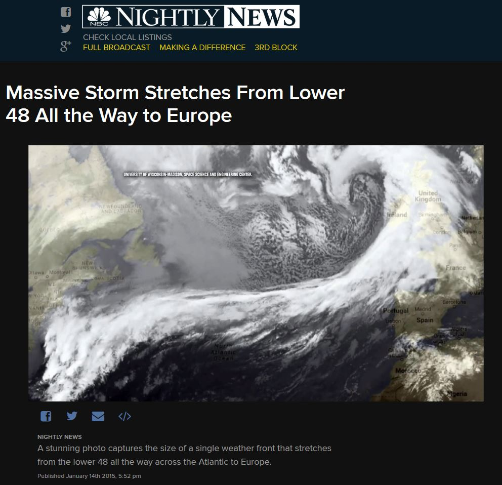 SSEC RealEarth™ Infrared satellite image featured on NBC Nightly News