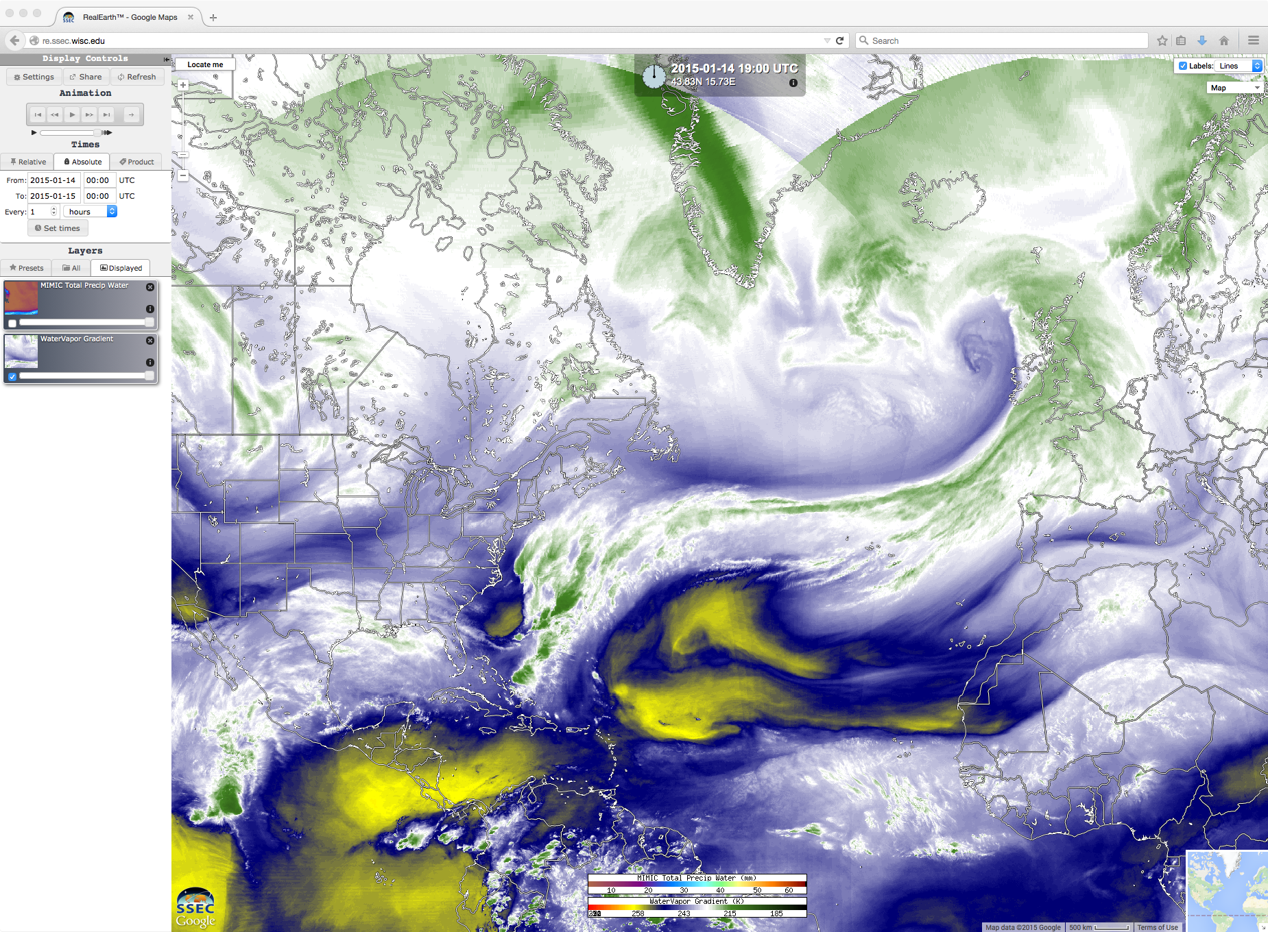 Geostationary satellite water vapor image composites (click to play animation)