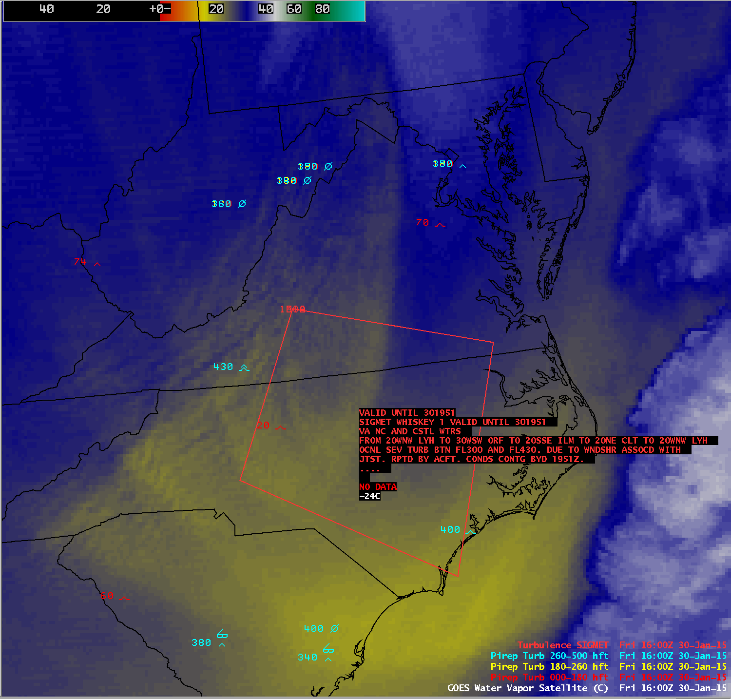 GOES-13 water vapor image with pilot reports and  boundaries of turbulence SIGMET