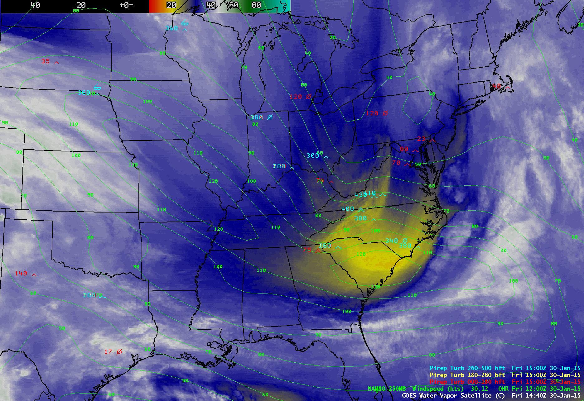 GOES-13 water vapor image with NAM80 250 hPa wind isotachs and pilot reports