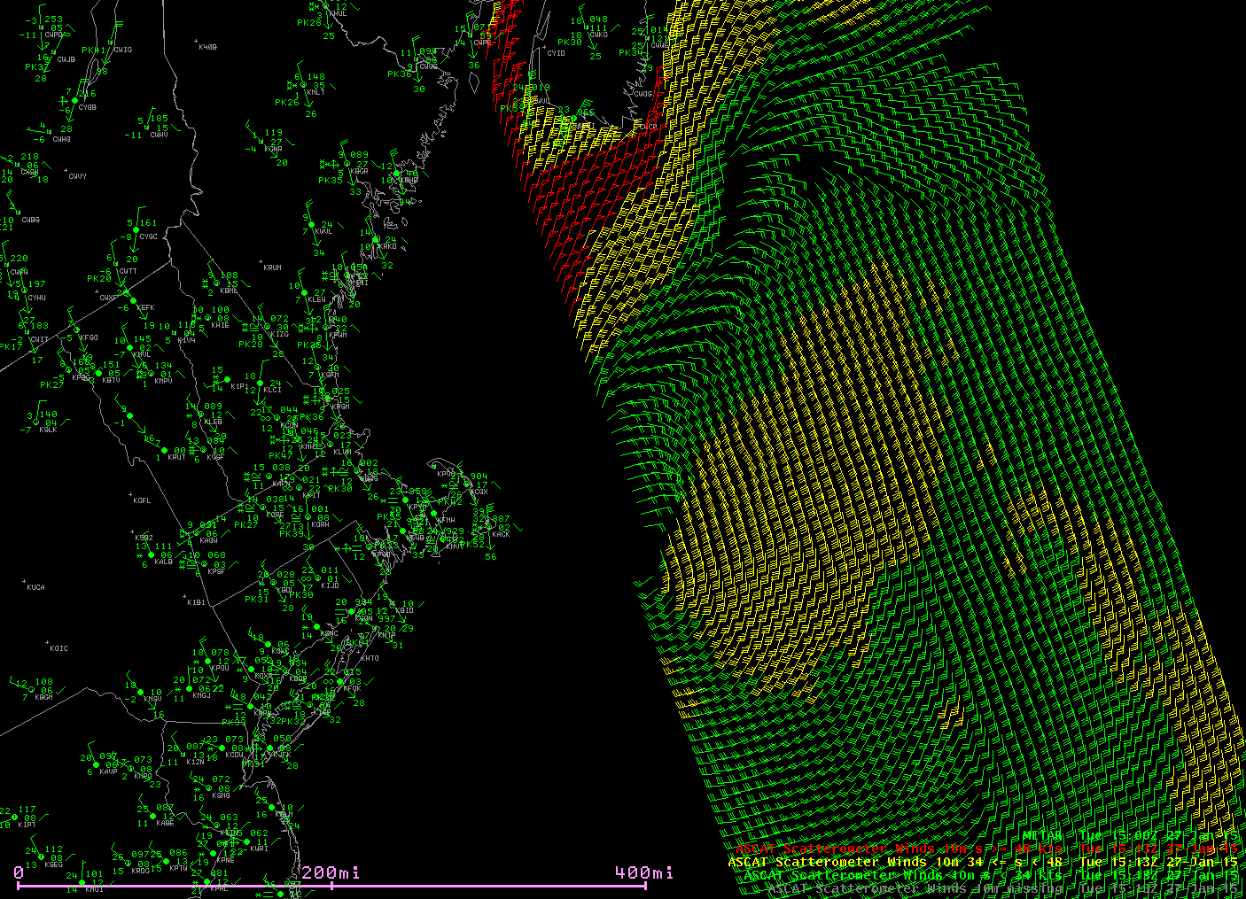 METOP-A ASCAT winds, 1513 UTC on 27 January 2015 along with surface METAR reports (click to enlarge)