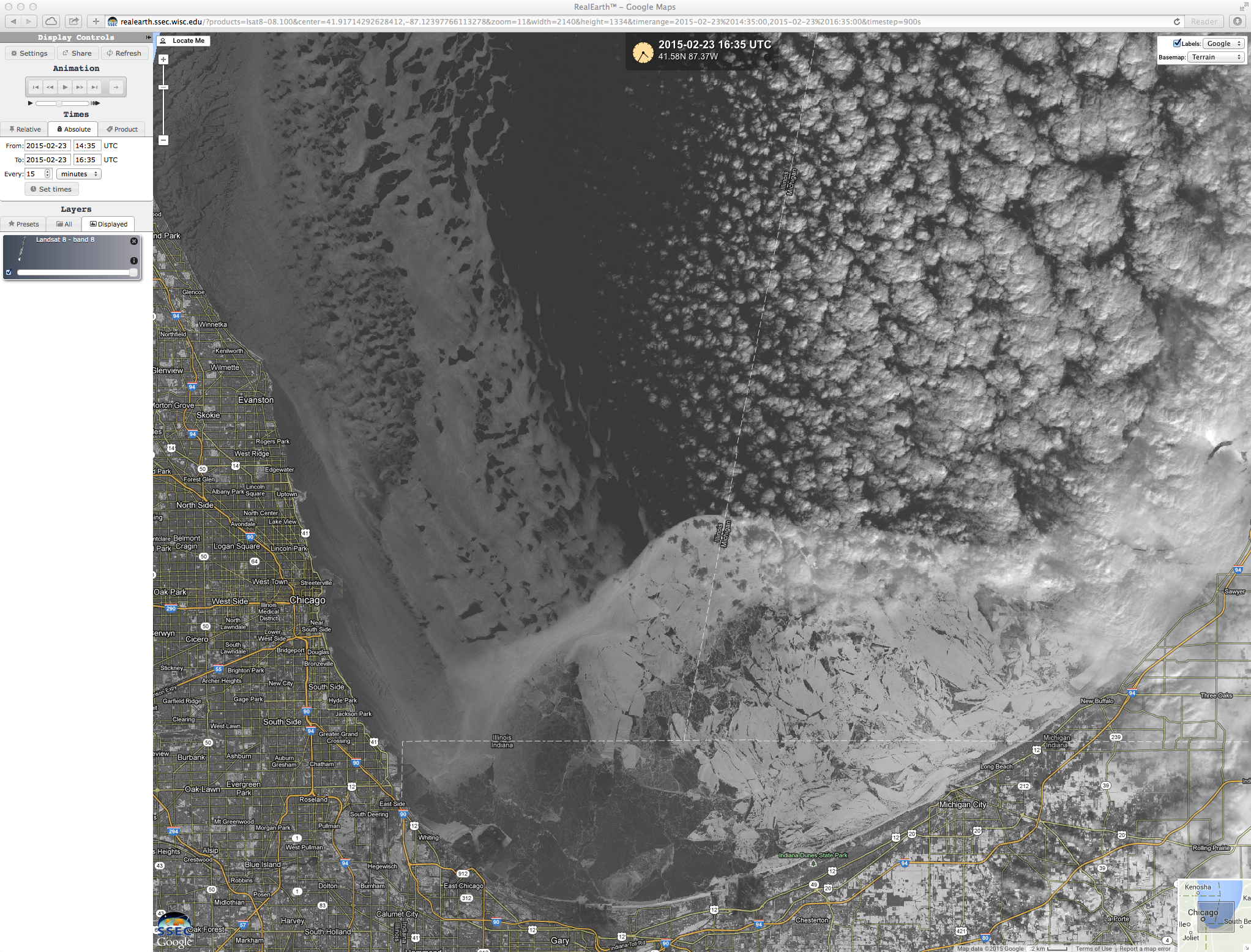Landsat-8 0.59 µm panochromatic visible image (click to enlarge)