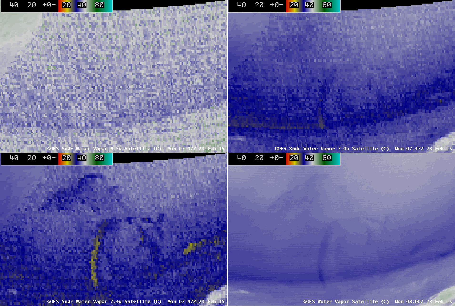 GOES-13 Sounder 6.5 µm, 7.0 µm, 7.4 µm, and Imager 6.5 µm water vapor channel images (click to play animation)