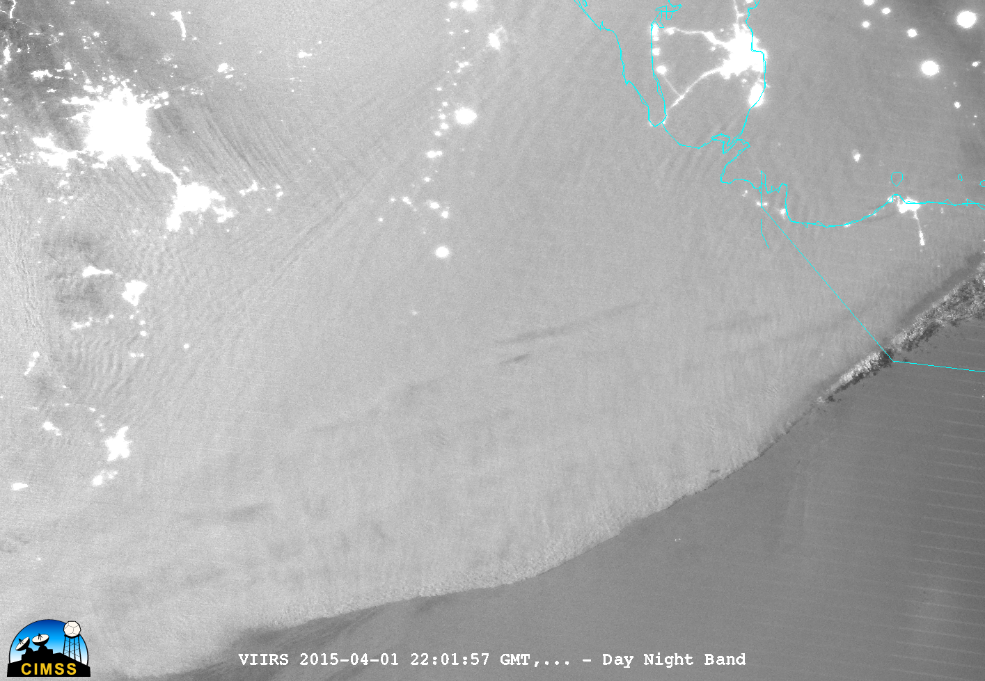 Suomi NPP VIIRS 0.7 µm Day/Night Band image