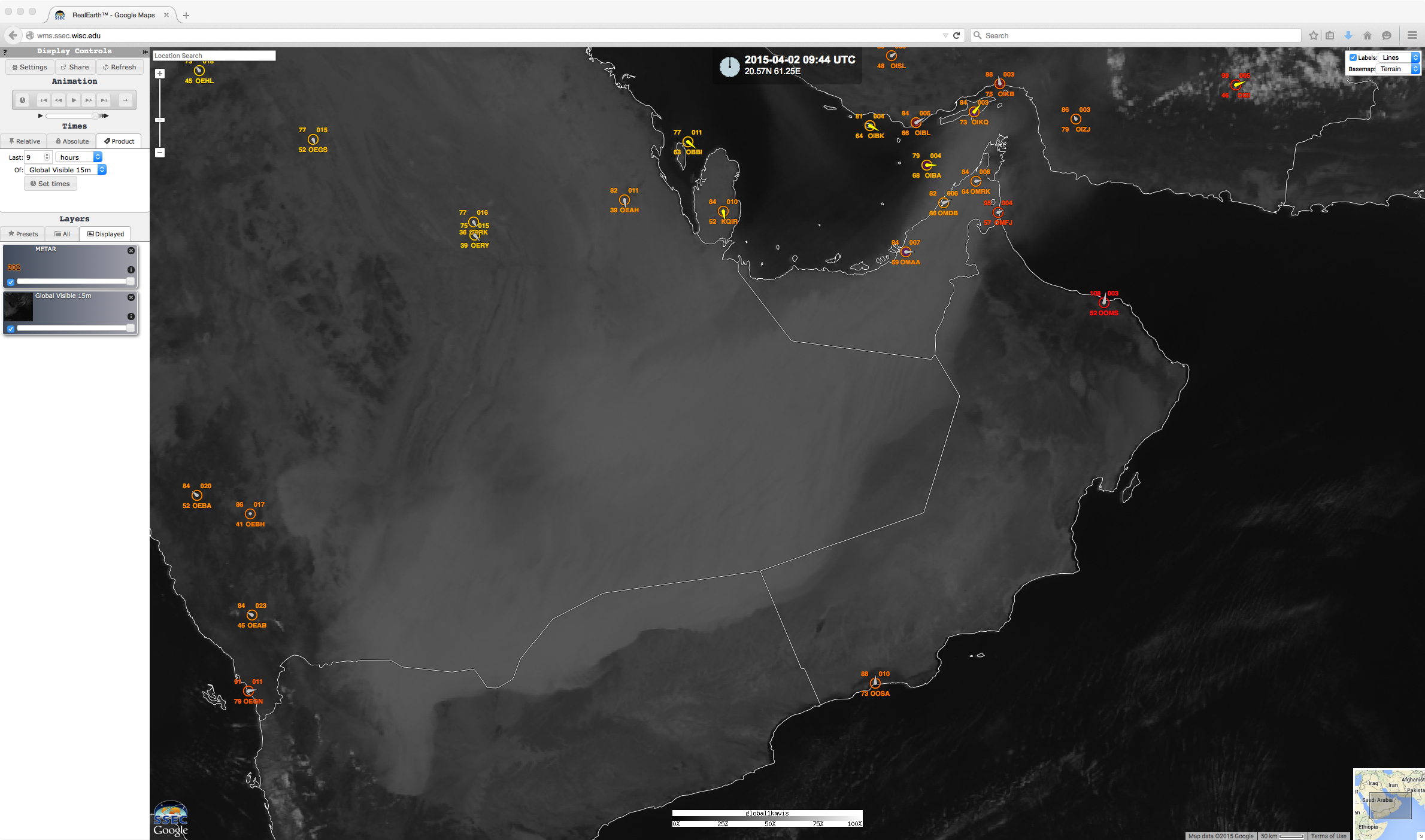 Visible satellite images and surface observations (click to play animation)