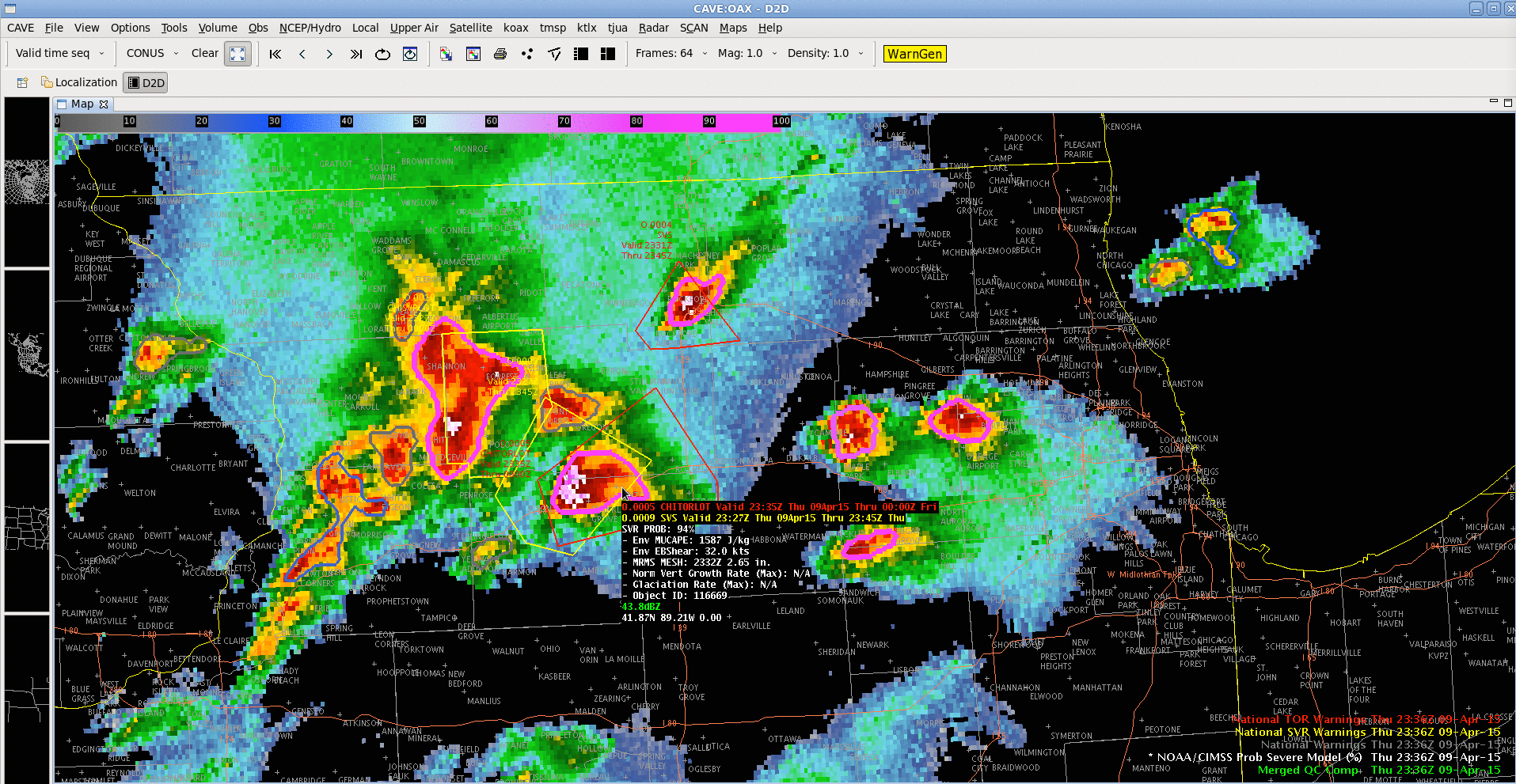 Radar reflectivity with NOAA/CIMSS ProbSevere model contours and NWS warning polygons (click to play animation)