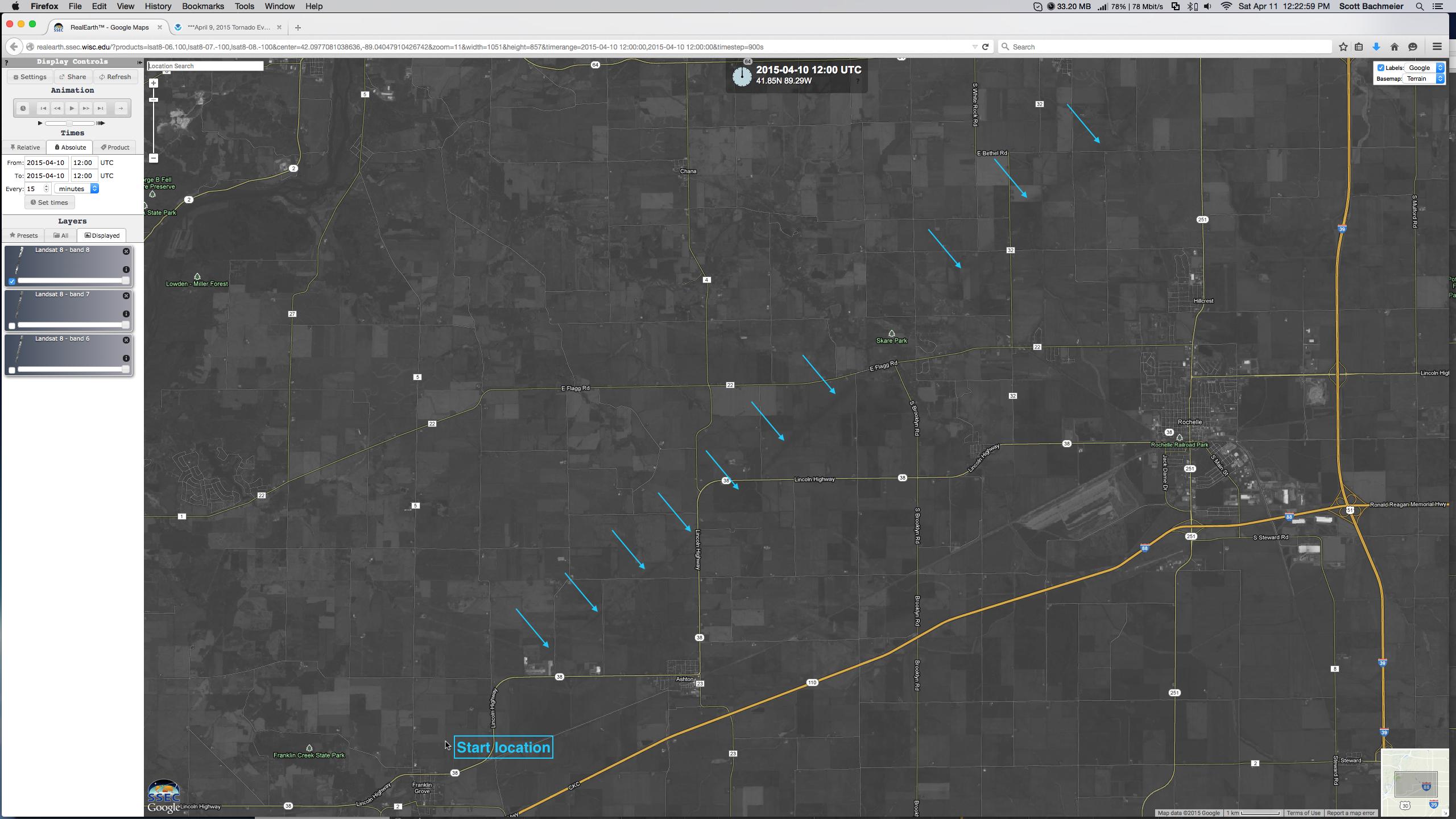 Landsat-8 0.59 µm panchromatic visible image of southwestern portion of tornado damage track (click to enlarge)