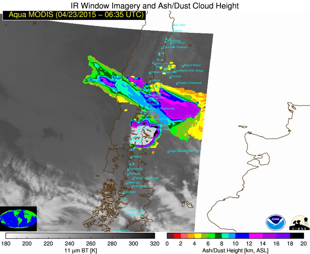 GOES-13 and Terra/Aqua MODIS volcanic ash height retrieval values (click to play animation)