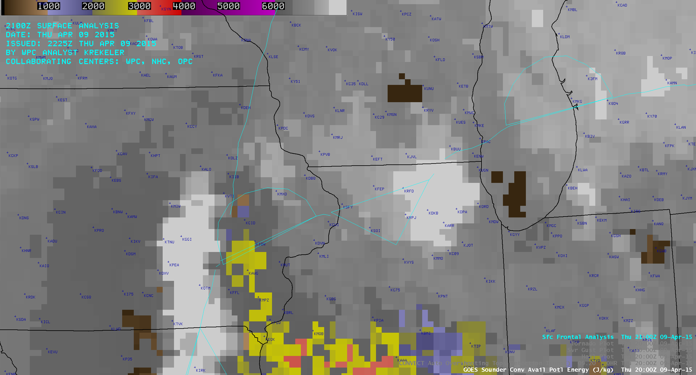 GOES-13 Sounder Lifted CAPE derived product images (click to play animation)