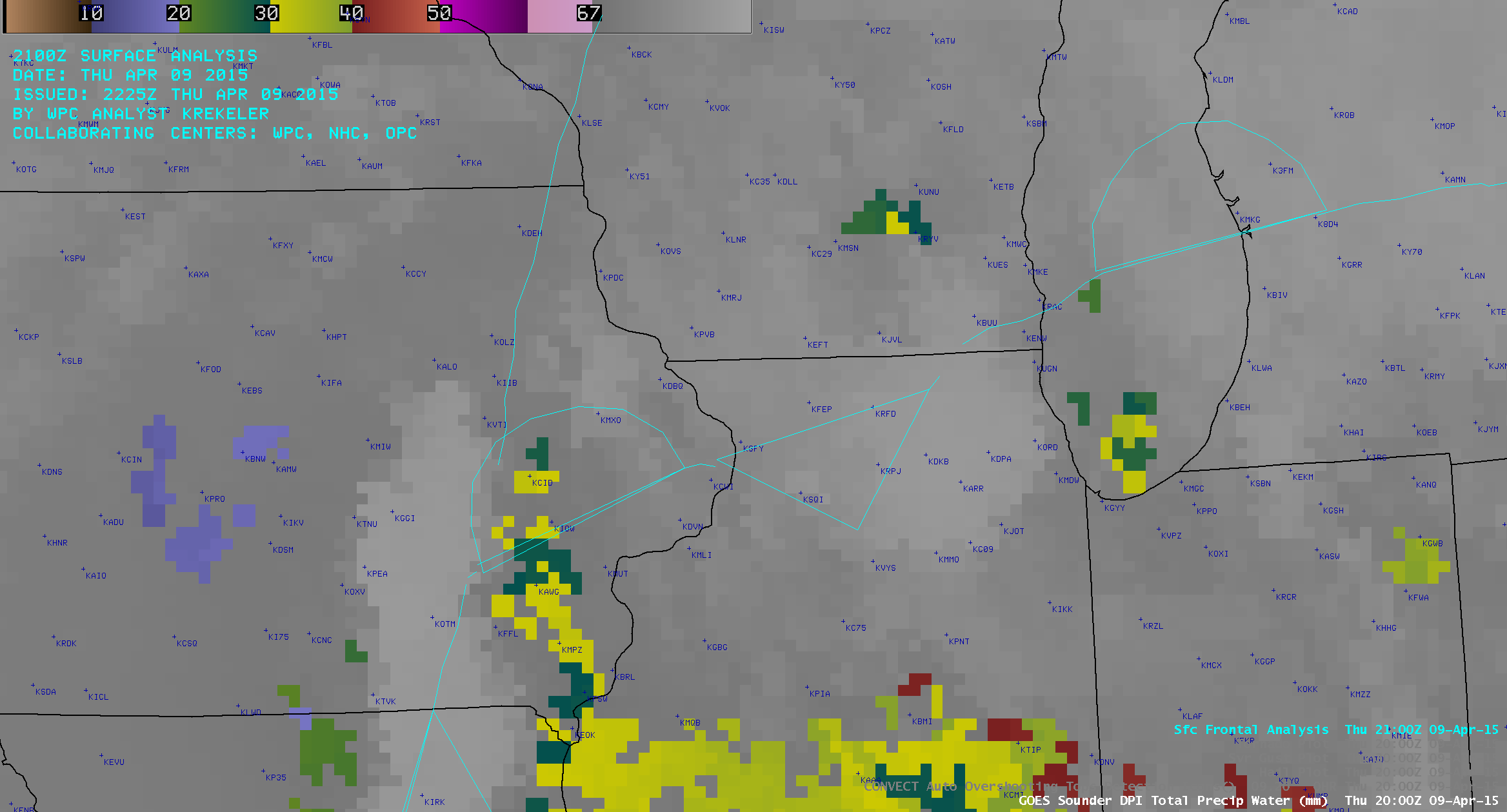 GOES-13 Sounder Total Precipatable Water (TPW) derived product images (click to play animation)