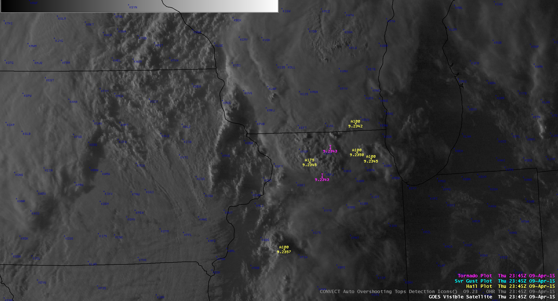 GOES-13 0.63 µm visible channel images, with SPC storm reports (click to play animation)