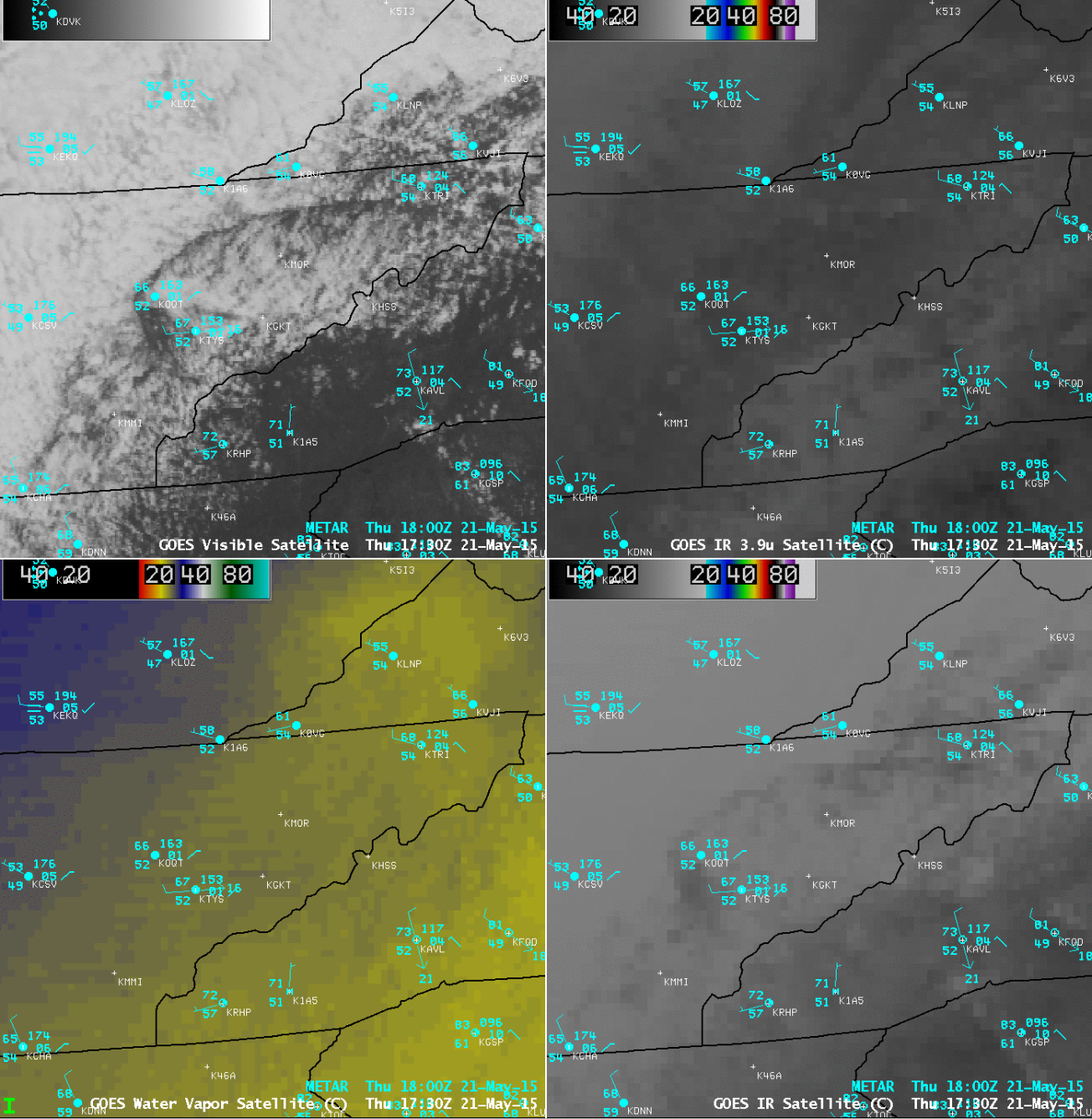 GOES-13 (GOES-East) visible, 3.9 µm shortwave IR, 6.5 µm, and 10.7 µm IR images [click to play animation]