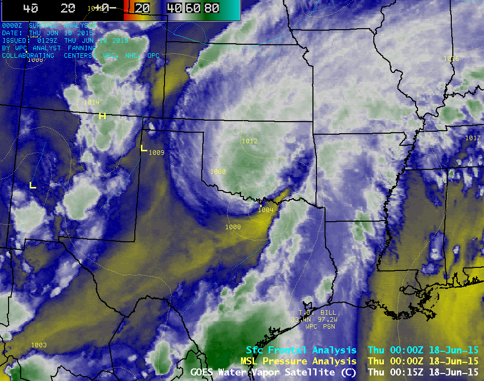 GOES-13 6.5 µm water vapor channel images, with surface pressure and frontal analyses (click to play animation)