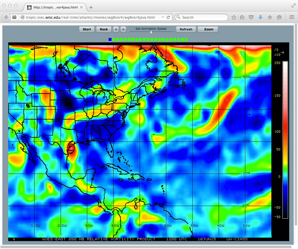 GOES-13 850 hPa relative vorticity product (click to play animation)