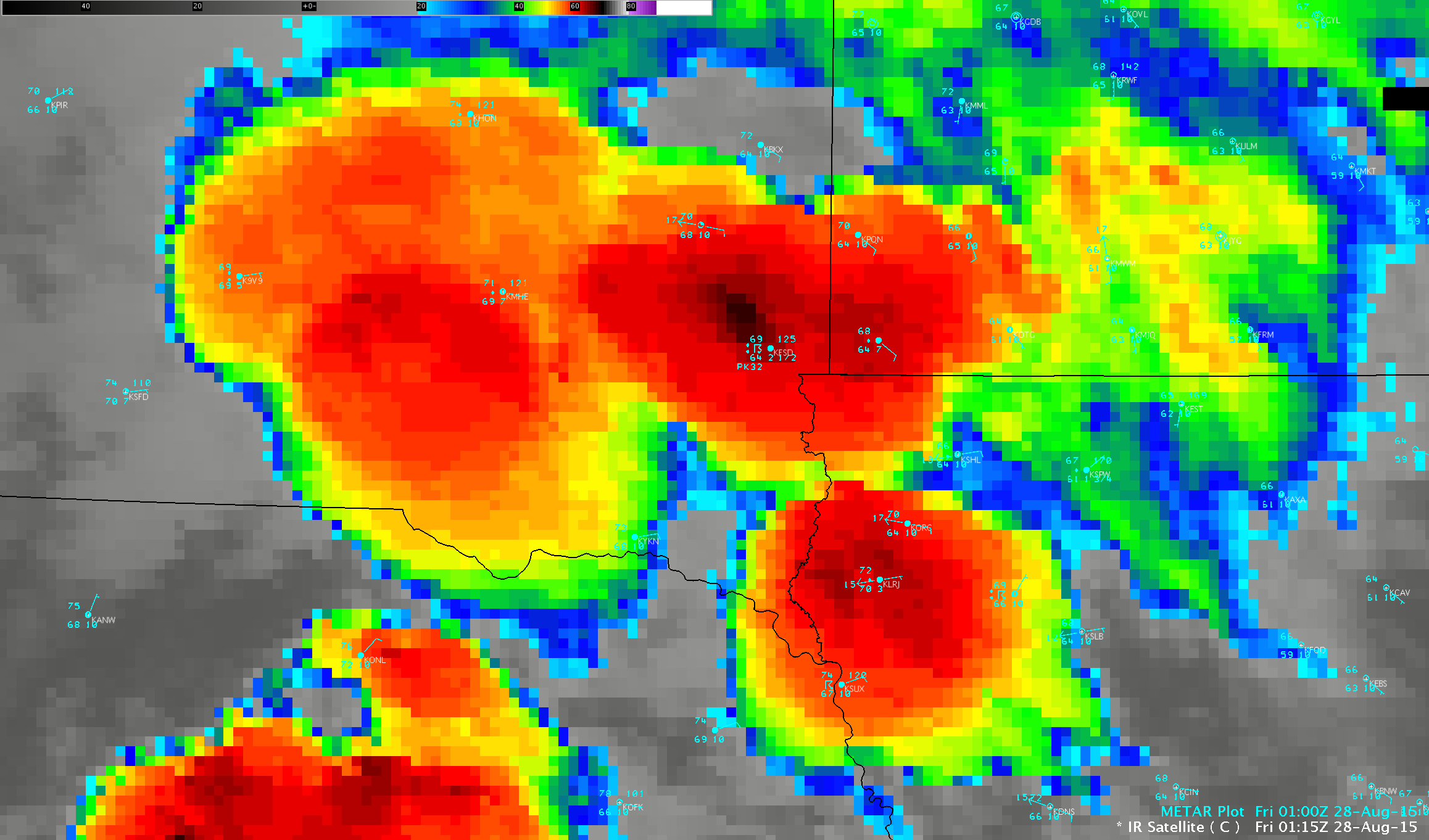 GOES-13 Infrared (10.7 um) images with METAR surface reports [click to play animation]