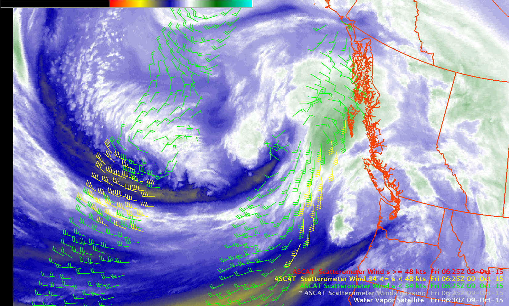 GOES-15 Water Vapor Imagery and ASCAT Scatterometer Winds, 0630 UTC on 9 October 2015 [click to enlarge]