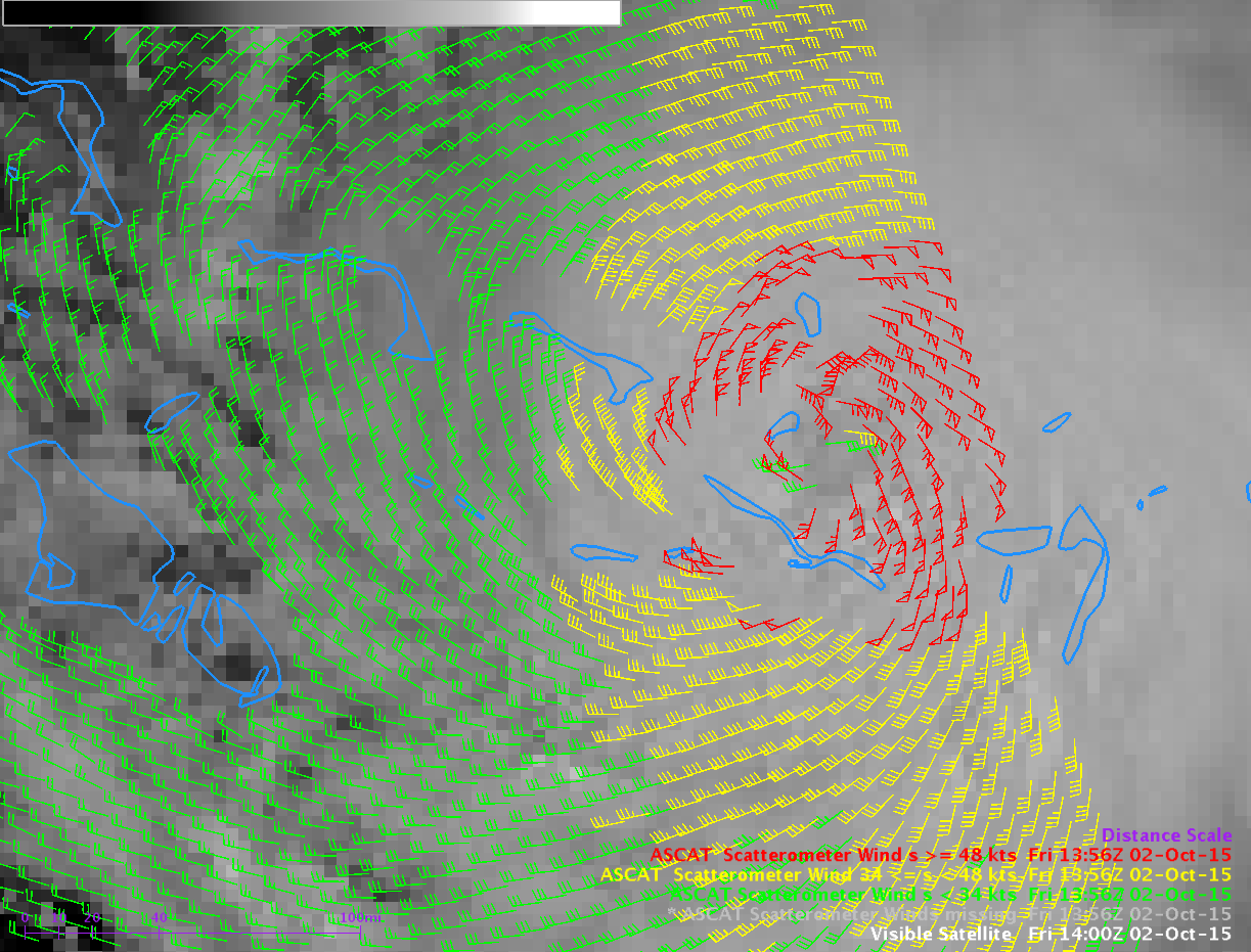 METOP ASCAT Scatterometer Winds, 1356 UTC 2 October and GOES-13 Visible (0.63 µm) imagery [click to enlarge]