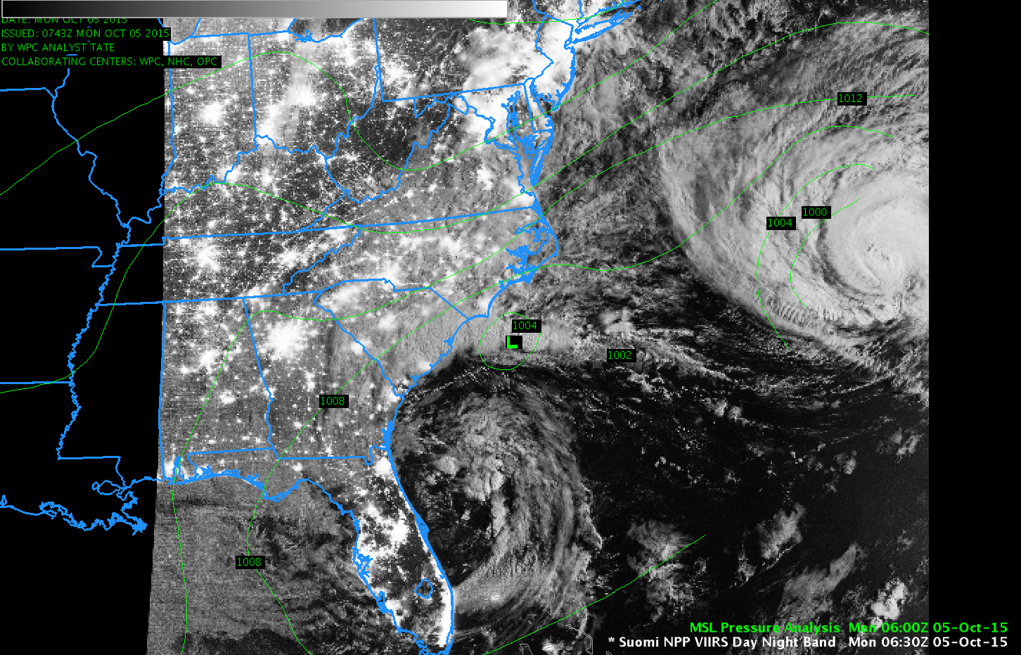 Suomi NPP VIIRS Day/Night Band Visible (0.70 µm) Imagery, 0630 UTC 5 October 2015 with surface analysis [click to enlarge]