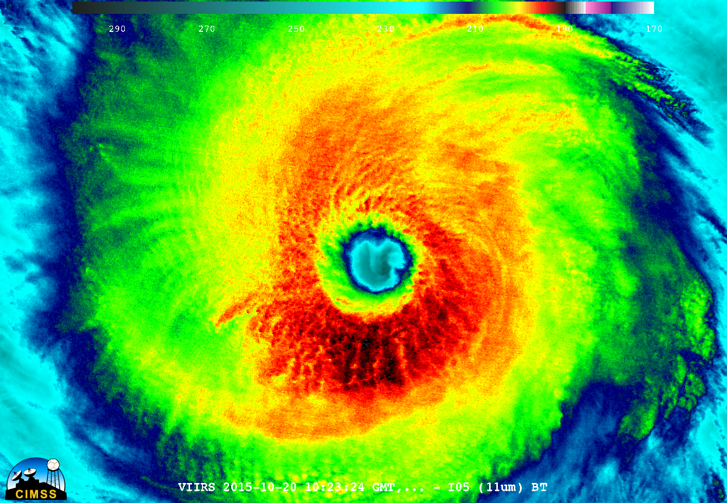 Suomi NPP VIIRS Infrared (11.45 µm) image [click to enlarge]