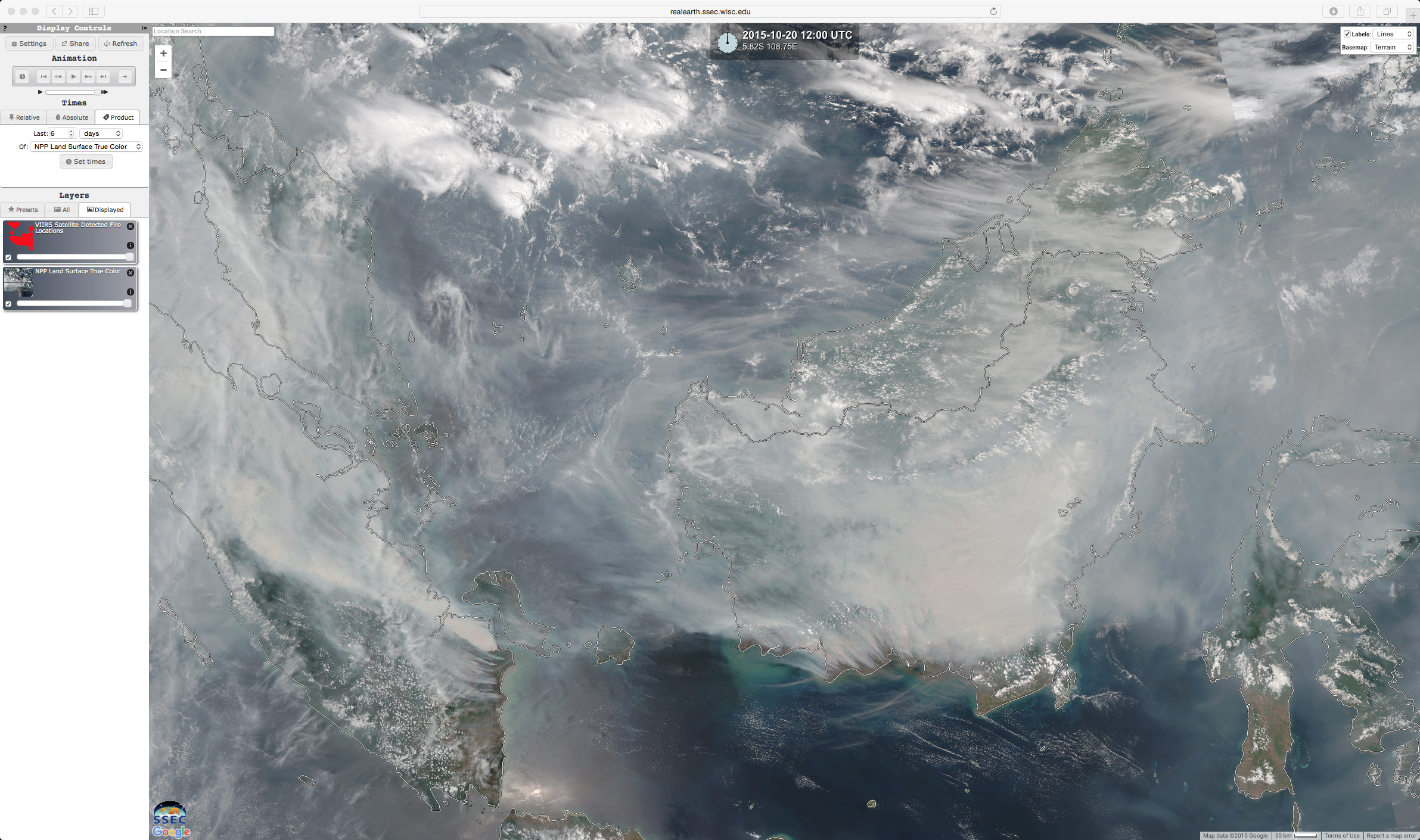 Daily comparisons of Suomi NPP VIIRS fire detections and true-color RGB images, from 20-26 October [click to animate]