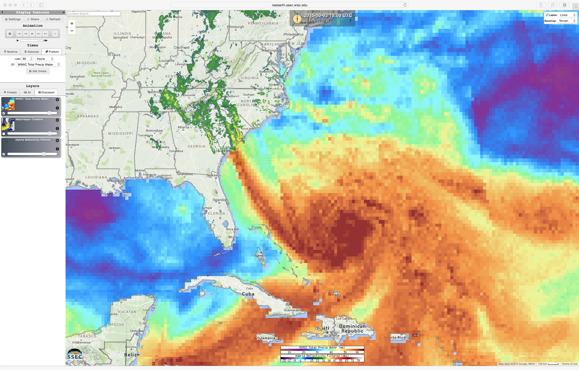 MIMIC Total Precipitable Water product and Radar reflectivity [click to animate]