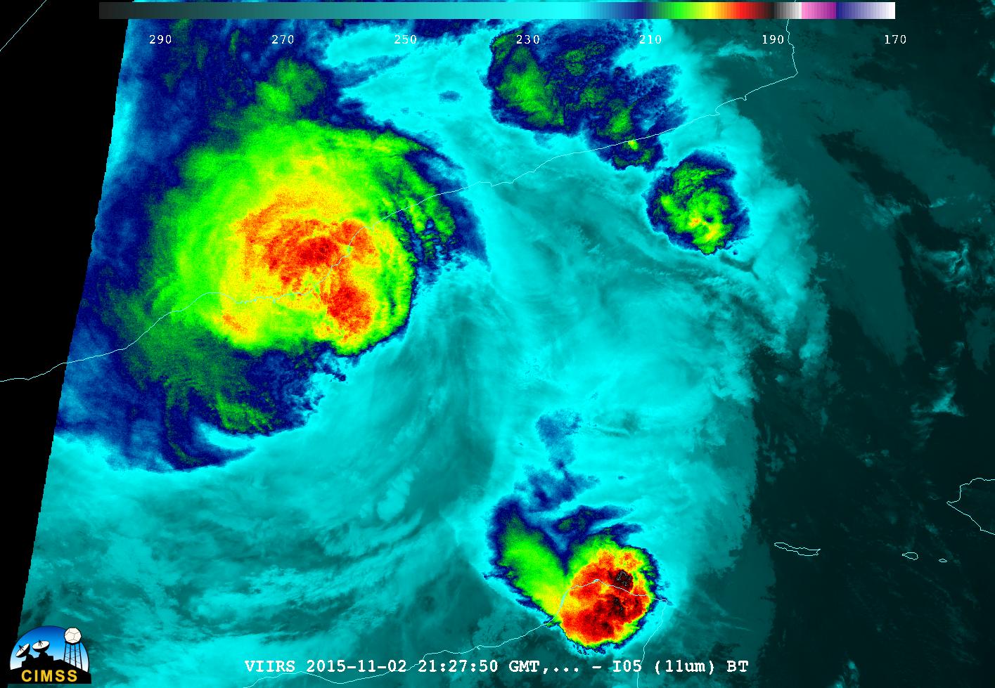 Suomi NPP VIIRS I05 (11.45 µm) Infrared Image, 2127 UTC on 2 November [click to enlarge]