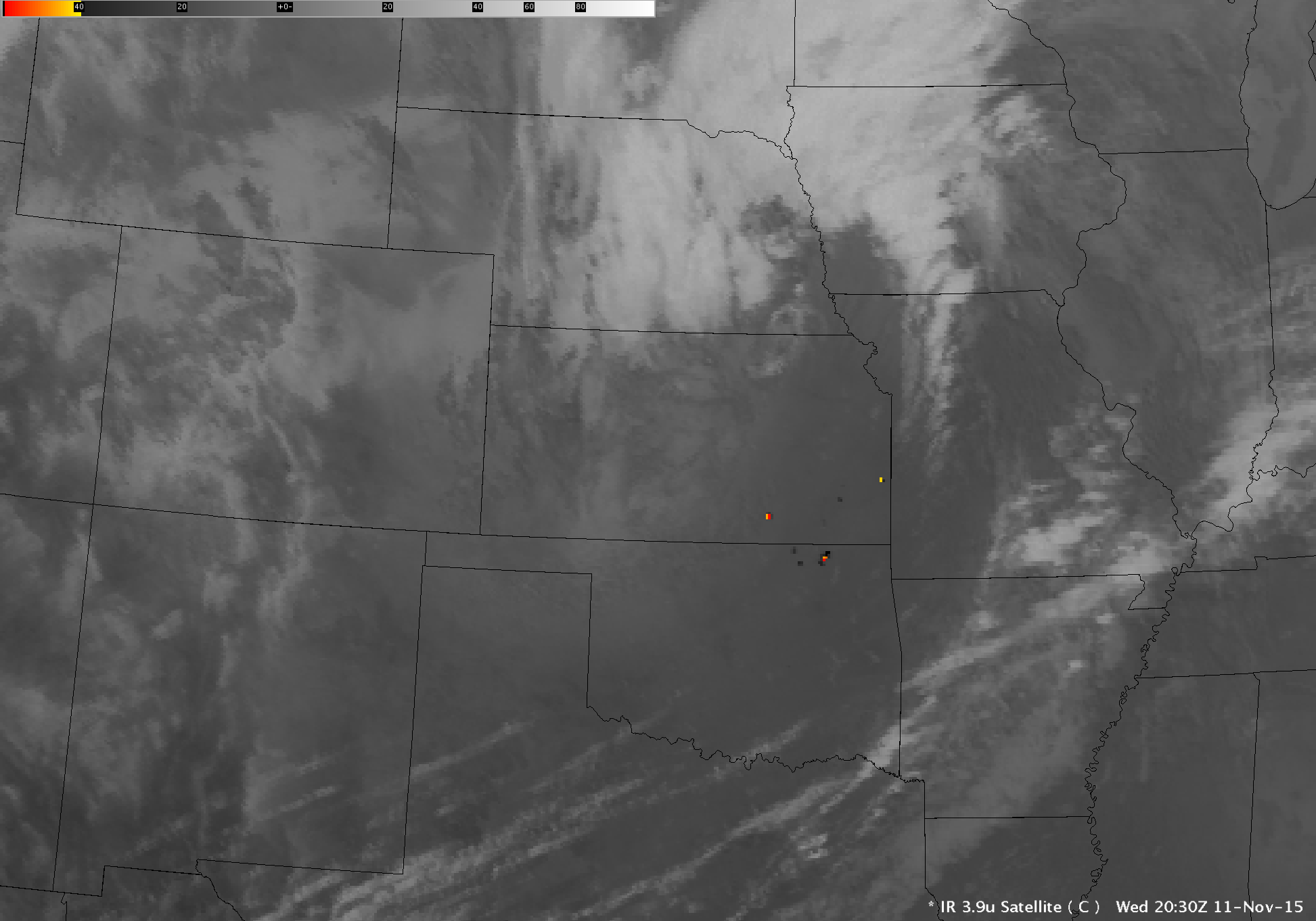 GOES-13 Shortwave Infrared (3.9 µm) images [click to play animation]