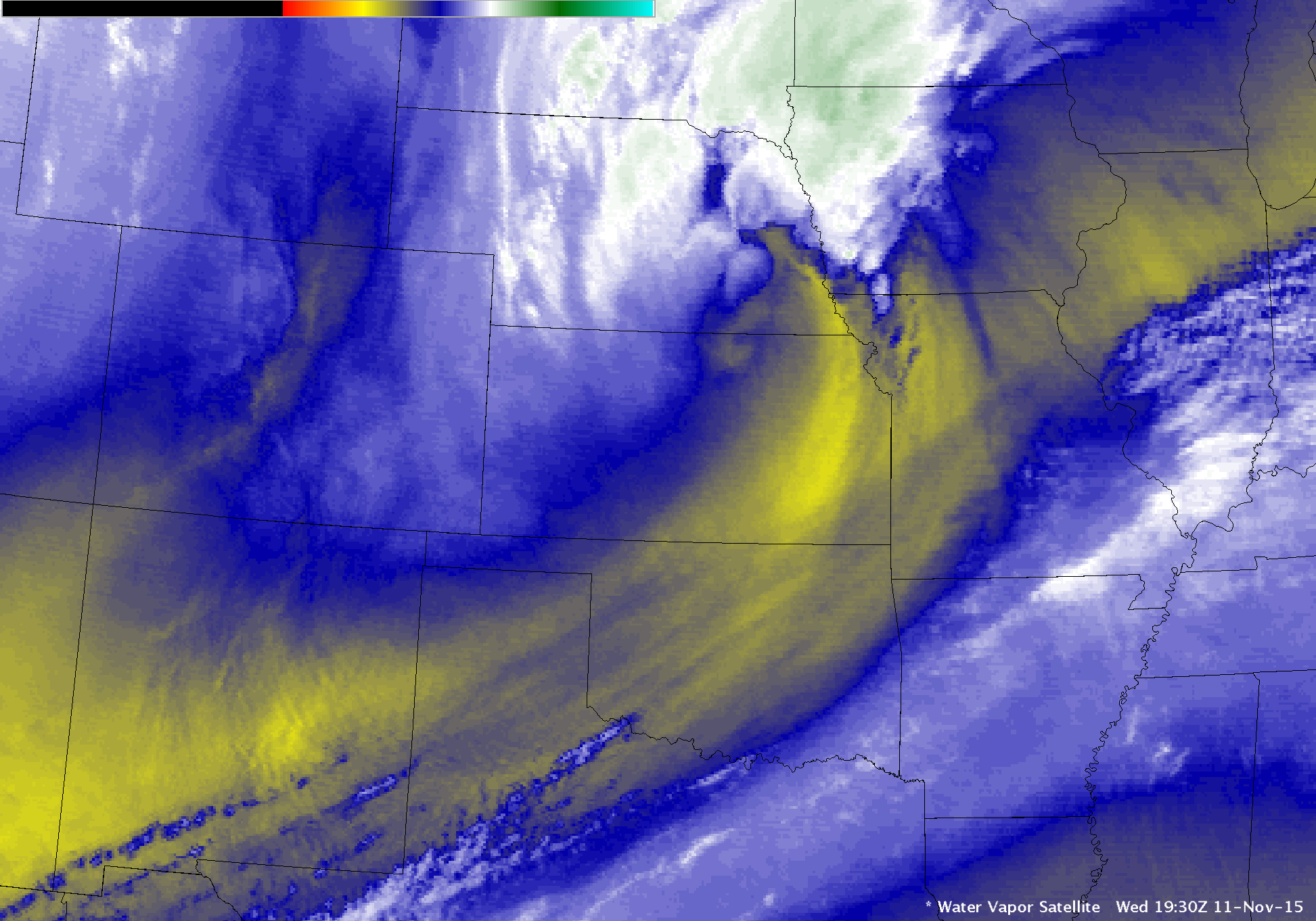 GOES-13 Water vapor (6.5 µm) images [click to play animation]