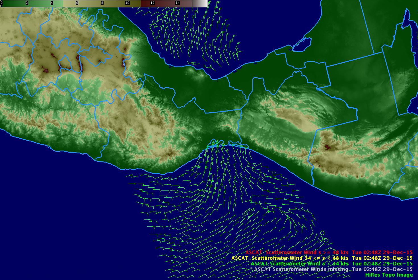 ASCAT Scatterometer Winds, 0248 UTC on 29 December, 2015 [click to enlarge]