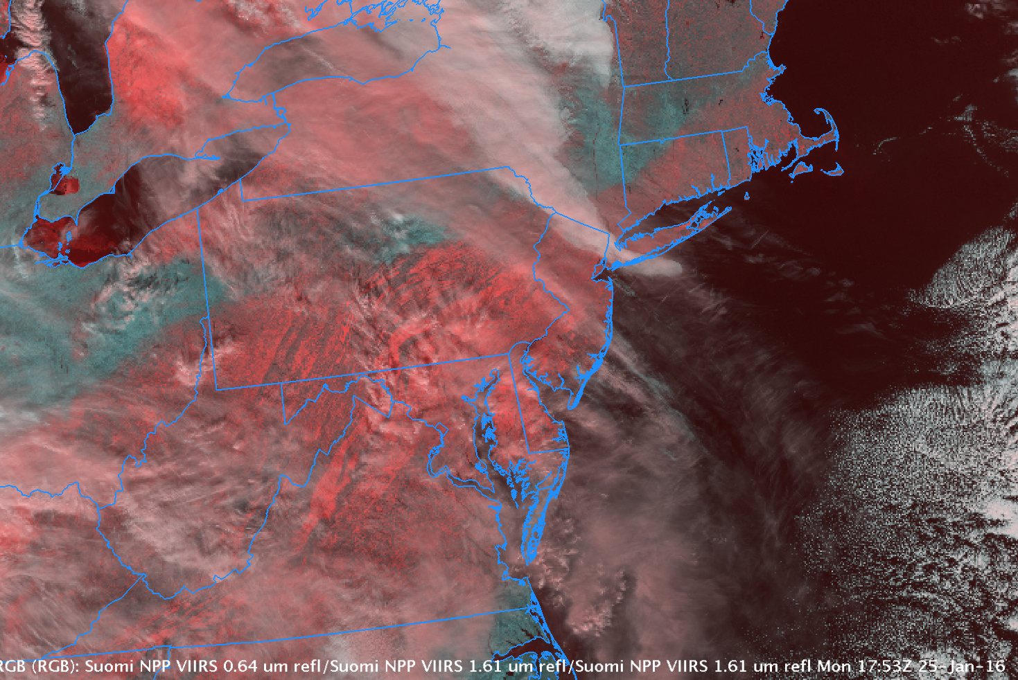 Suomi NPP VIIRS RGB Imagery showing snow/ice features (red), water droplet cloud features (white) and bare ground (cyan), 1753 UTC on 25 January 2016 [click to enlarge]