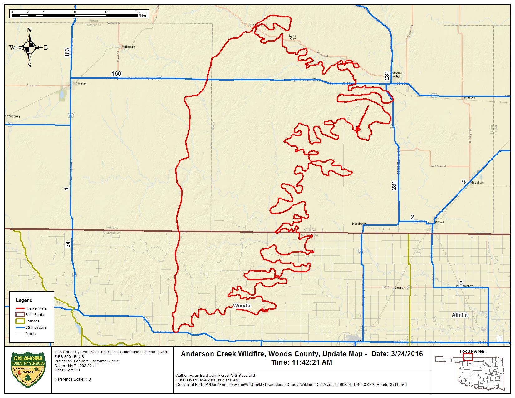 Anderson Creek Fire perimeter map [click to enlarge]