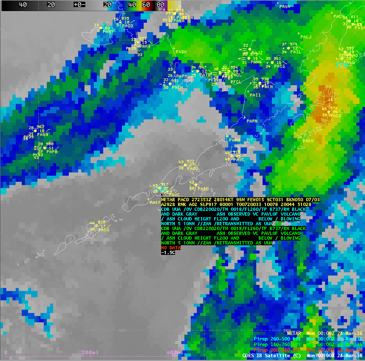 GOES-15 Infrared Window (10.7 um) image, with METAR surface reports and Pilot reports [click to enlarge]
