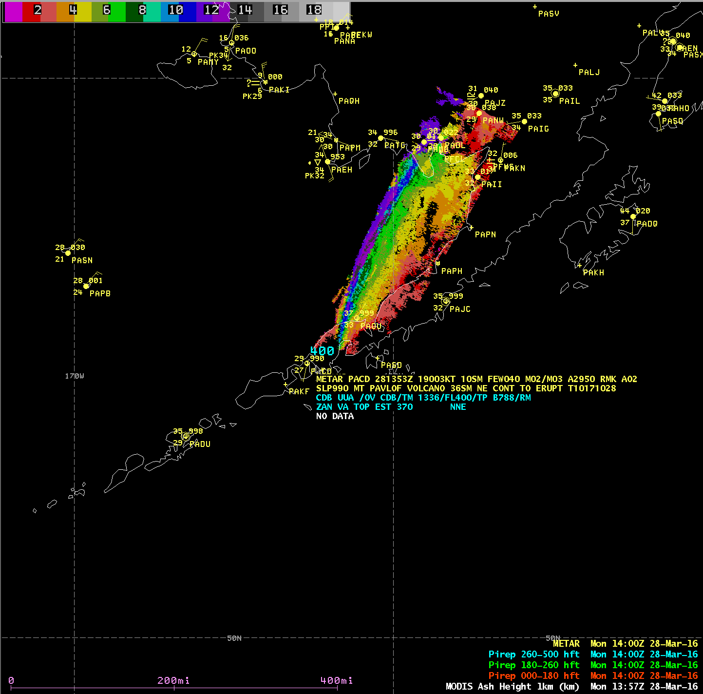 Aqua MODIS Ash Height product, with METAR surface reports and Pilot reports [click to enlarge]
