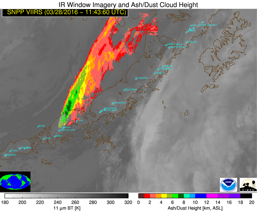 GOES-15 Infrared (10.7 µm) images, with Terra/Aqua MODIS and Suomi NPP VIIRS Ash Height products [click to play animation]