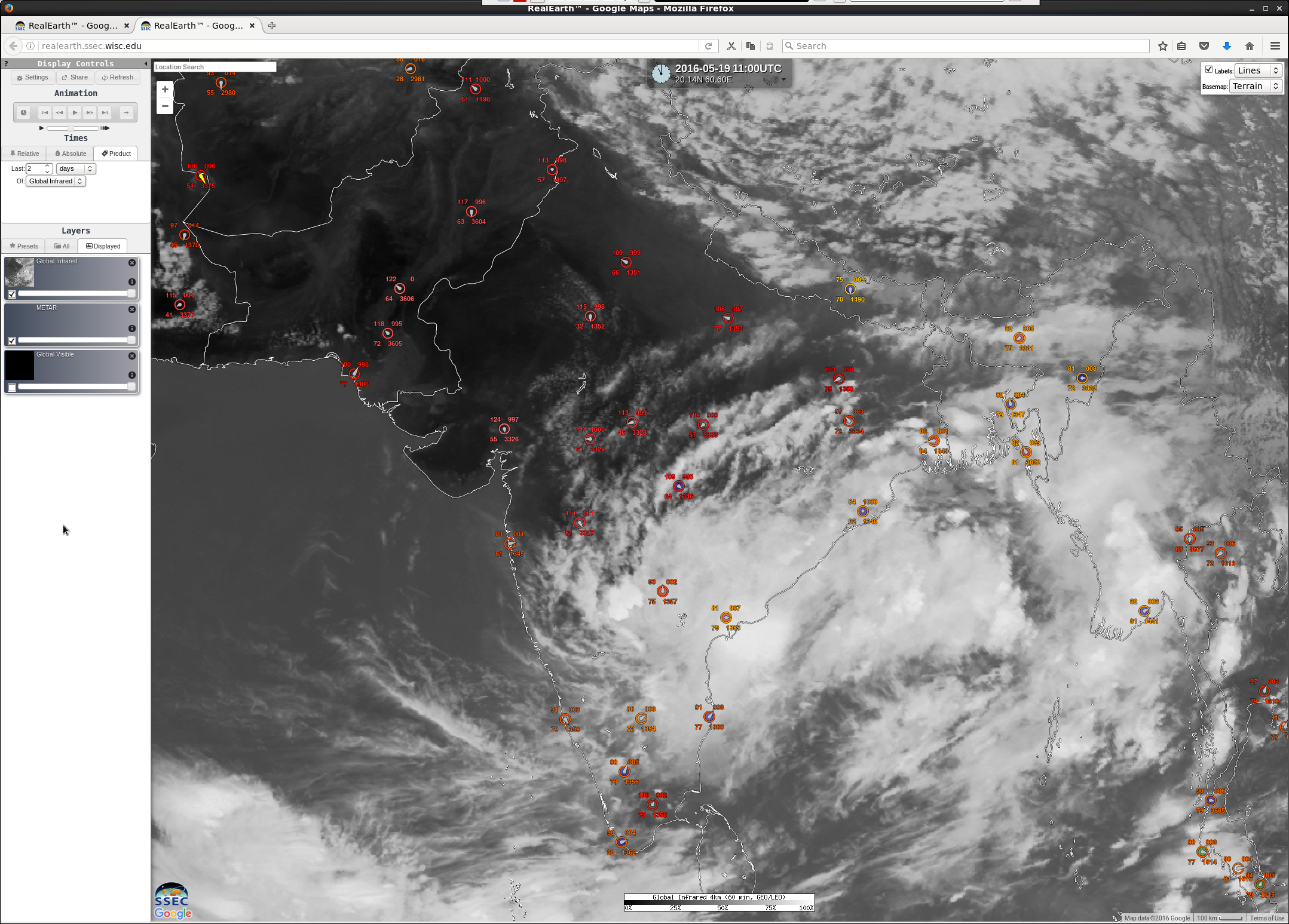 Hourly Infrared satellite images, with METAR surface reports [click to play animation]