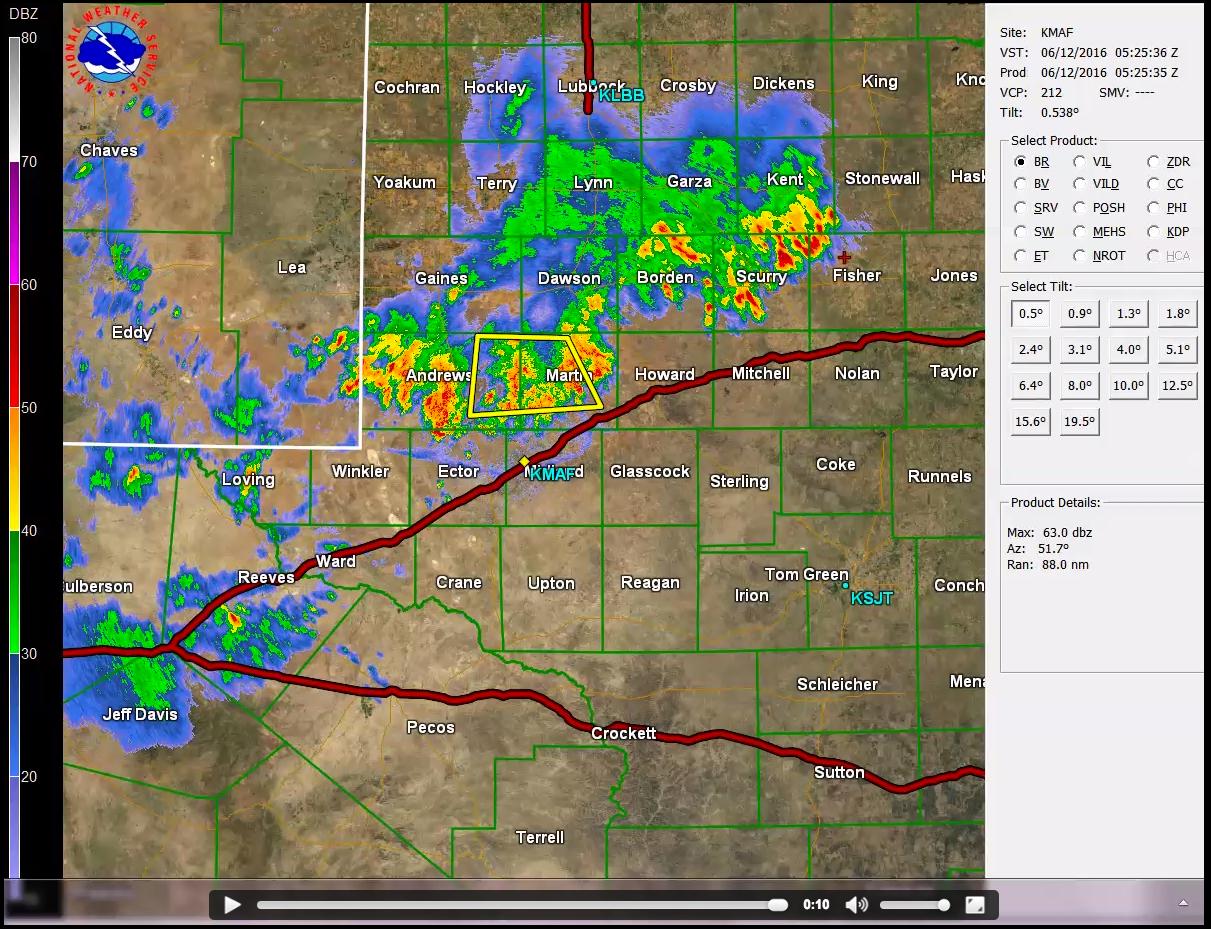 Midland, Texas radar reflectivity [click to play MP4 animation]