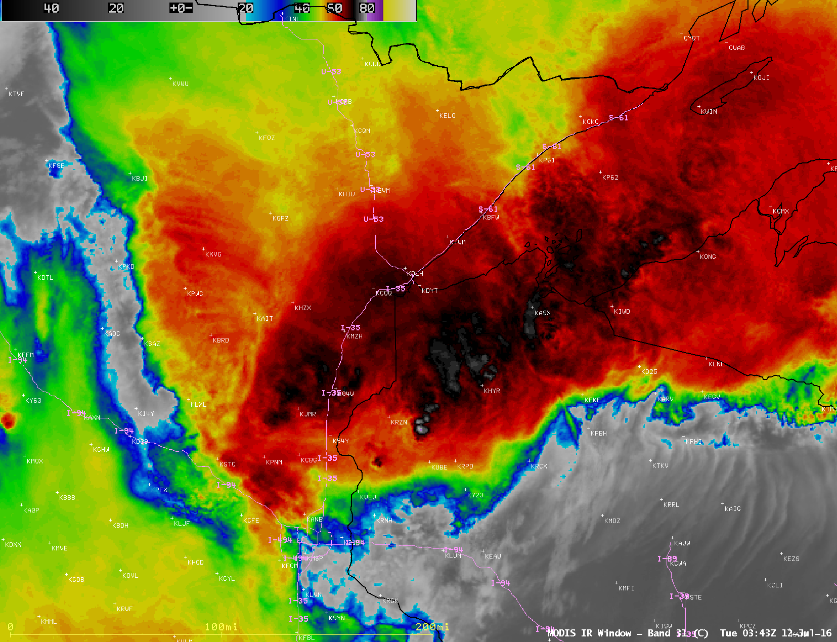 Infrared images from Terra/Aqua MODIS (11.0 µm) and Suomi NPP VIIRS (11.45 µm) [click to play animation]